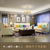美式真皮沙发轻奢小户型客厅蓝色拉扣整装单人三人1+2+3组合 其他