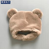婴儿冬款仿兔毛帽子宝宝加厚加绒0-3-6-9个月男女儿童带扣围脖帽5