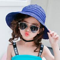 女童遮阳帽夏防晒帽女童帽子沙滩帽宝宝空顶帽女童太阳帽儿童凉帽 均码 3-10岁(可调节大小)