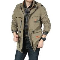 春秋季薄款夹克宽松男士多口袋冲锋衣工装中长款户外休闲外套透气 卡其色 086中长款