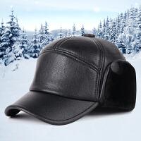 冬季新款男士帽子时尚仿皮保暖棒球帽户外休闲雷锋帽中老年护耳帽