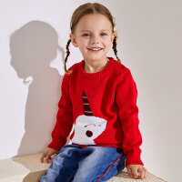 小猪班纳童装女宝宝毛衣套头棉线衣儿童冬季2018新款女童针织衫