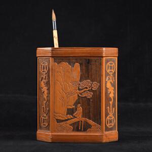 Z62清《红木贴竹璜山水人物八棱笔筒》(纯手工雕刻、雕工巧妙、栩栩如生、包浆丰厚)