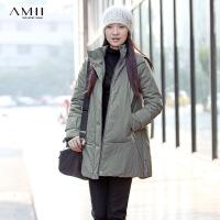 AMII[极简主义] 冬装新品帅气立领连帽中长款棉衣外套女 11241028