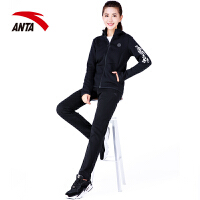 安踏女装运动套装2020春季新款连帽针织透气简约休闲两件套运动服
