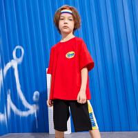 【年中大促2件2折:65】巴拉巴拉旗下 巴帝巴帝2019夏季新款男童中大童时尚撞色儿童运动套装潮酷