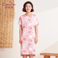 【专柜同款】康妮雅家居服睡裙女士夏季短袖卡通可爱居家裙