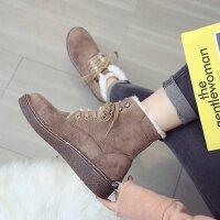 短筒英伦中学生棉鞋加绒冬天新款女鞋平底马丁靴女半桶雪地靴