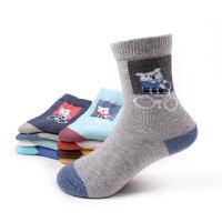 秋冬时尚儿童袜子卡通单车熊中大童厚纯棉袜男女童学生中筒袜子