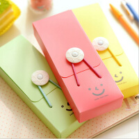 学生笔袋塑料PVC简易糖果色女孩文具盒铅笔盒储物盒 颜色随机