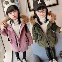 儿童装男童女童加绒加厚外套棉衣棉袄大衣2018冬装新款E325 O