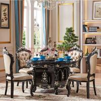欧式餐桌全实木旋转圆桌四方桌新古典色大理石美式餐桌椅组合