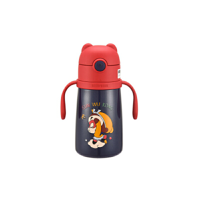 【限时秒杀】杯具熊(BEDDYBEAR)儿童保温杯带吸管便携手柄背带两用保温壶320ml浮雕图案3D版 野望-齐天大圣 【防伪查询 正品保障】