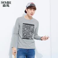 森马修身长袖T恤休闲简约学生男士圆领套头个性几何印花韩版潮