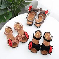 夏季童鞋女童凉鞋蝴蝶结水钻公主鞋中大童露趾沙滩鞋