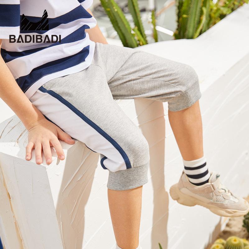 【清仓价:33】巴拉巴拉旗下巴帝巴帝童装2019春夏新款男童中裤灰色纯棉运动裤中大童