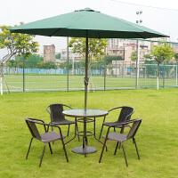 户外桌椅伞铁艺外摆咖啡厅奶茶店室外庭院露台休闲藤椅三件套