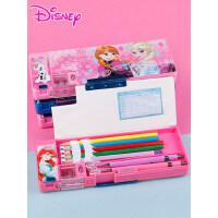 迪士尼男小学生多功能铅笔盒女冰雪爱莎白雪公主儿童塑料铅笔盒幼儿园米奇米妮笔袋1-3年级创意文具盒可爱