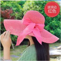海边遮阳草帽可折叠沙滩帽女大沿帽 遮阳帽 海滩度假旅游太阳帽子