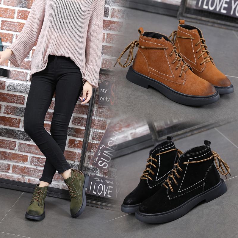 西瑞韩版复古圆头马丁靴女短筒松糕女鞋中帮擦焦系带反绒皮靴平底BL993