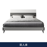 现代简约床 1.8米双人1.5米高箱经济型公寓出租房板式家具