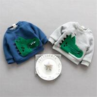 婴儿上衣冬季加绒保暖绒衫外套鳄鱼宝宝卫衣外套0-1-2岁外出服潮