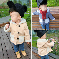 宝宝加绒套装冬装1-3岁潮男宝宝加厚两件套婴儿冬季加厚休闲套装