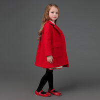 2018冬季女童夹棉加厚红色毛呢大衣中小大儿童宝宝外套洋气新年装