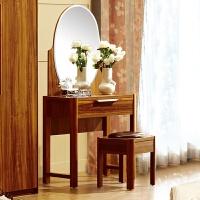 实木质梳妆台卧室现代化妆台简约翻盖折叠小户型带镜收纳化妆柜桌 组装
