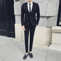 2018春款 口袋波折设计男士西装两件套