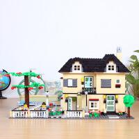 万格城市别墅 屋子童话城堡益智拼装房子建筑模型儿童玩具34053新
