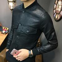 新款社会青年小伙潮男士紧身韩版皮衣小个子修身口袋夹克外套男生