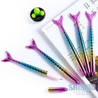 创意 美人鱼笔子弹头圆珠笔 可爱学生签字笔精美中性笔水笔文具