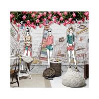服装店时尚模特墙画 手绘时尚个性服装墙纸女装服装店背景墙壁纸时装店模特工作室壁画 墙纸+专用胶水