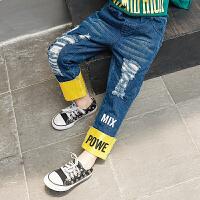 女童牛仔裤2018秋装新款童装韩版儿童中腰撞色破洞休闲牛仔长裤子