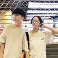 情侣装夏季新款韩版落肩男女半袖衫撞色学生印花圆领短袖T恤