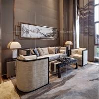 简约现代VIP室沙发会所样板房新中式实木沙发组合 售楼部洽谈家具 家具定制详情请联系客服