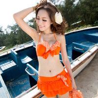 小胸钢托聚拢三件套  比基尼bikini游泳衣 女装分体平角裙式温泉泳装