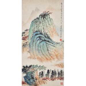R83  张大千(款)《攀山图》