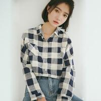 衬衫 女士学生翻领格子长袖衬衫2019秋季新款韩版时尚女式文艺洋气开衫女装衬衣
