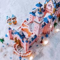 粉色城堡微颗粒积木拼装玩具成年情侣女生礼物大人高难度乐高立体