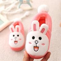 2017秋冬季新款卡通兔子棉拖鞋男童女童宝宝婴儿包跟保暖棉鞋 粉色 可妮兔