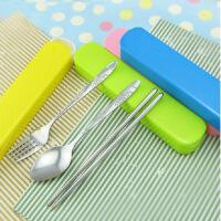 不锈钢餐具礼盒三件套 学生便携抽拉餐具盒套装 颜色*2个装