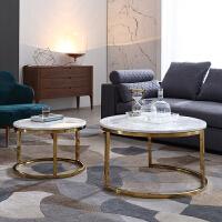 镀金轻奢不锈钢大理石桌面组合茶几北欧现代客厅圆形高低子母茶几 整装