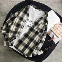日系复古格子衬衫男长袖衬衣春季宽松韩版学生潮流情侣款衣服