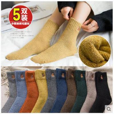 羊毛袜秋冬款袜子女中筒袜韩版学院风保暖加厚加绒兔羊毛长袜韩国