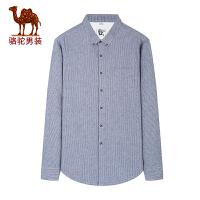 骆驼男装 秋季新款青年修身条纹扣领尖领纯棉休闲长袖衬衫男