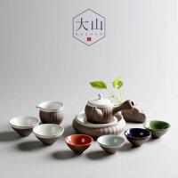 大山整套陶瓷功夫茶具套装日式陶器侧把壶带壶承一壶六杯茶具礼盒手工茶具