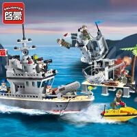 一号玩具 启蒙乐高式积木小颗粒拼装模型6-12岁儿童益智玩具军事系列海盗炮营819