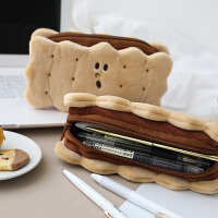 夹心饼干毛绒铅笔袋 简约ins潮日系小学生可爱高颜值文具盒少女心